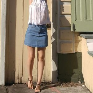 ⚡SALE⚡Light Wash Mid/High Rise Jean Mini Skirt